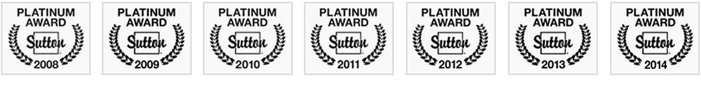 Sutton's Platinum Award 2008, 2009, 2010, 2011, 2012, 2013 & 2014